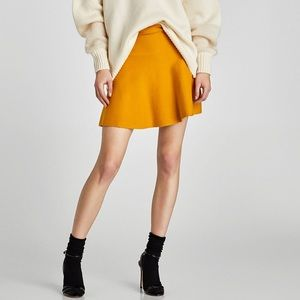 NWT Zara mustard yellow knit mini skirt